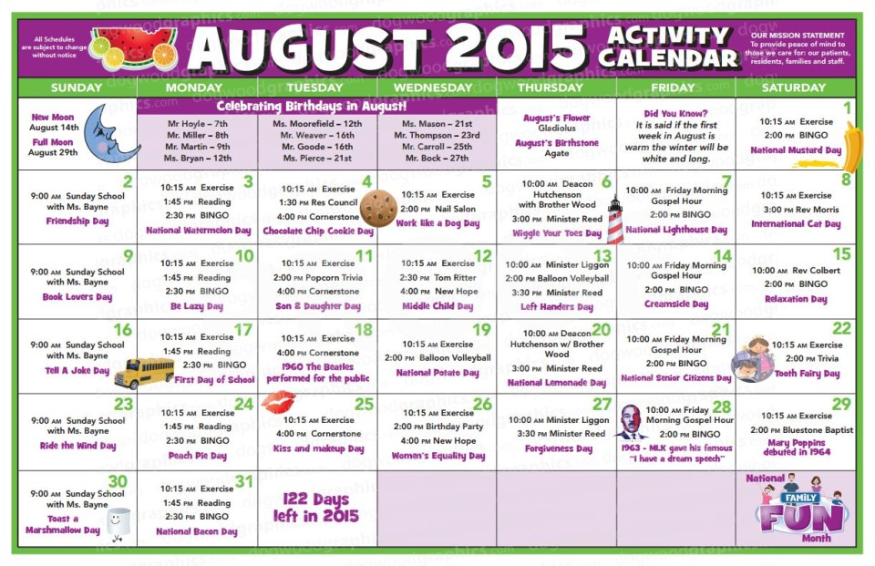 Chase City Health  Rehab Center  Activity Calendar  August