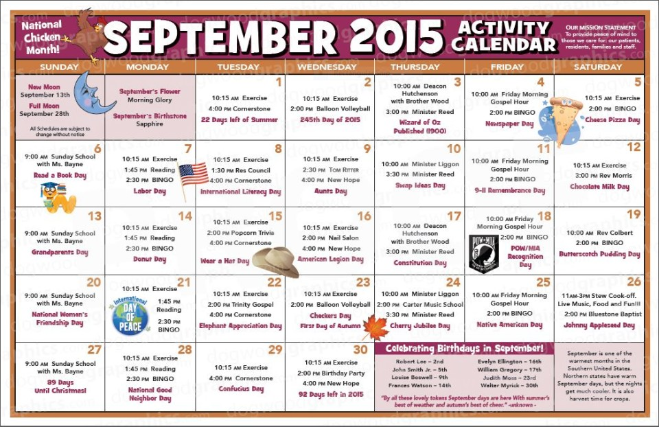 Chase City Health  Rehab Center  Activity Calendar  September
