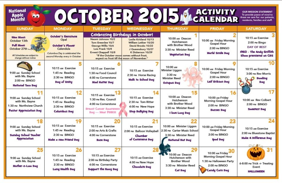 Chase City Health  Rehab Center  Activity Calendar  October