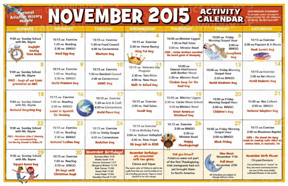 Chase City Health  Rehab Center  Activity Calendar  November