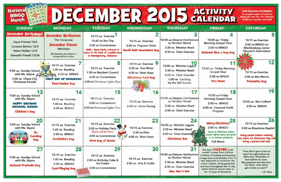 Chase City Health  Rehab Center  Activity Calendar  December