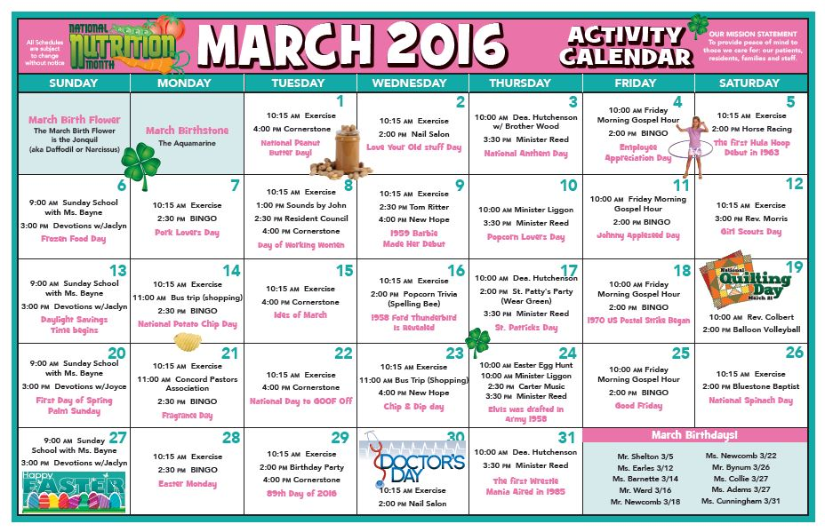 activity calendar march 2016 chase city health rehab center