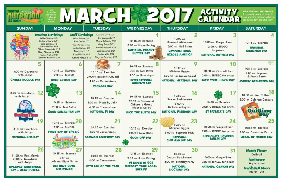 Chase City Health  Rehab Center  Activity Calendar  March