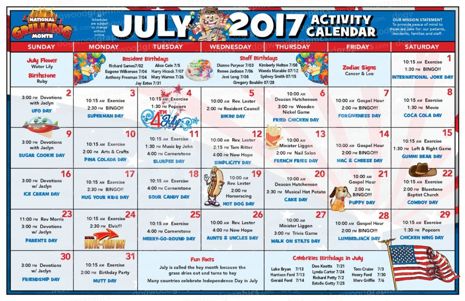 Chase City Health  Rehab Center  Activity Calendar  July